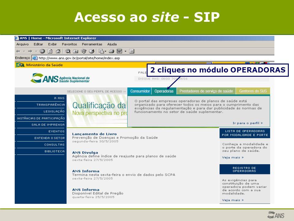 2 cliques no módulo OPERADORAS Acesso ao site - SIP