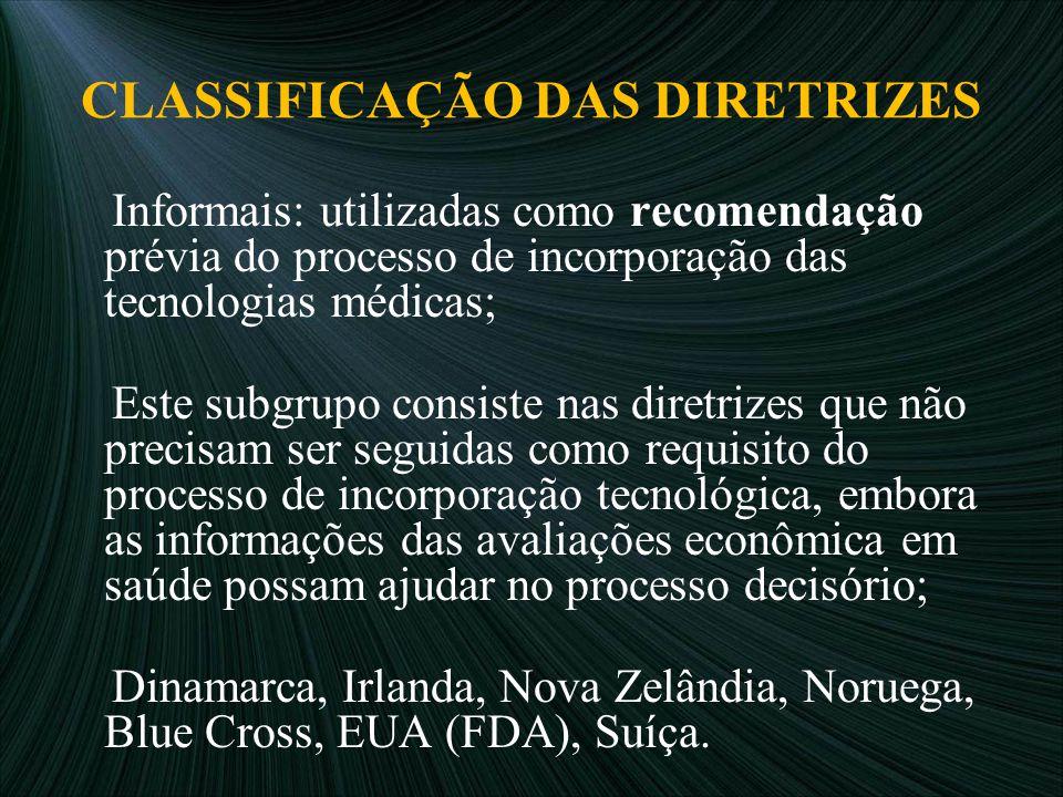 CLASSIFICAÇÃO DAS DIRETRIZES Informais: utilizadas como recomendação prévia do processo de incorporação das tecnologias médicas; Este subgrupo consist