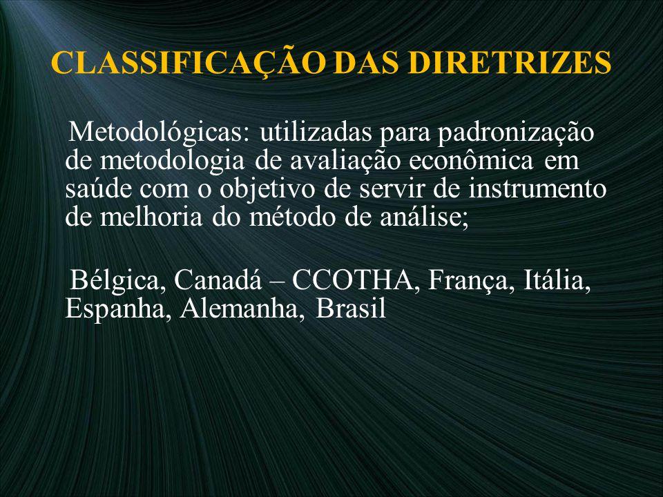 CLASSIFICAÇÃO DAS DIRETRIZES Metodológicas: utilizadas para padronização de metodologia de avaliação econômica em saúde com o objetivo de servir de in