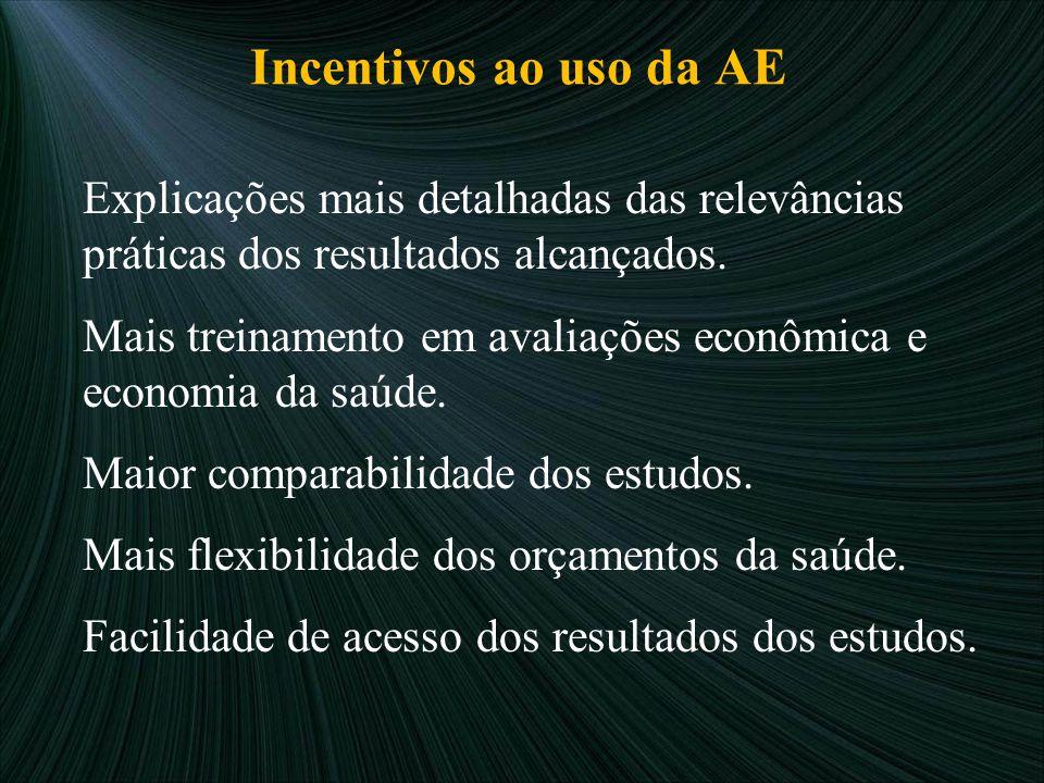 Incentivos ao uso da AE Explicações mais detalhadas das relevâncias práticas dos resultados alcançados. Mais treinamento em avaliações econômica e eco