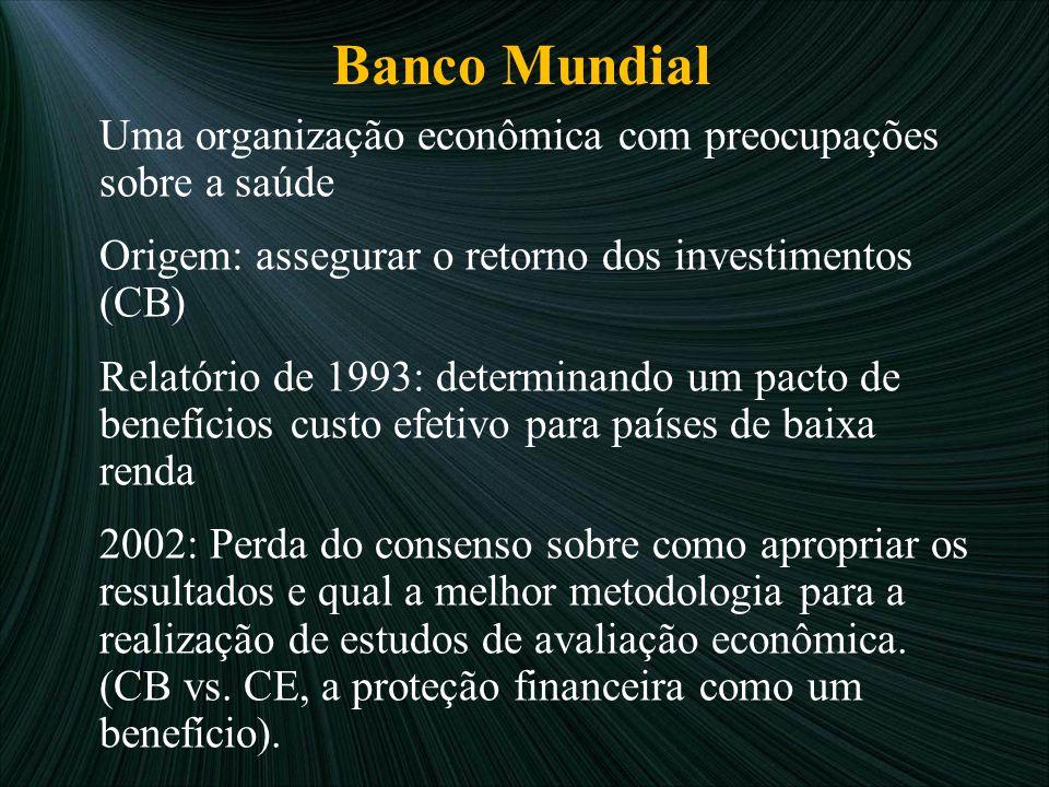 Banco Mundial Uma organização econômica com preocupações sobre a saúde Origem: assegurar o retorno dos investimentos (CB) Relatório de 1993: determina