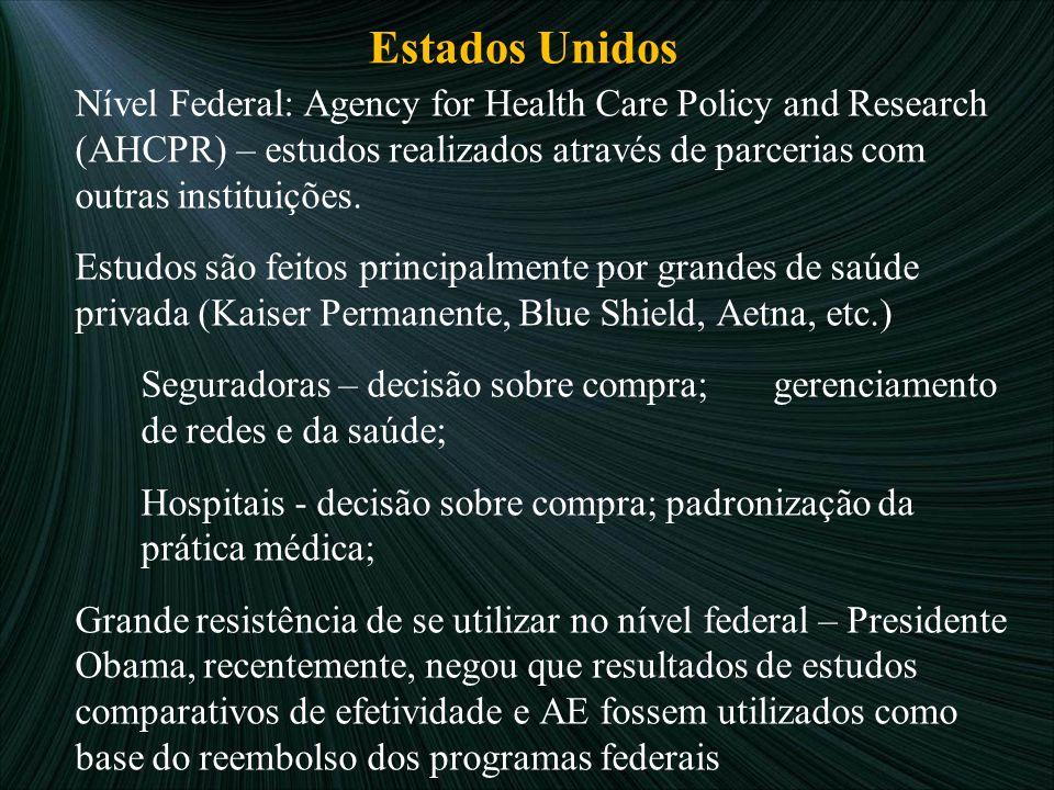 Estados Unidos Nível Federal: Agency for Health Care Policy and Research (AHCPR) – estudos realizados através de parcerias com outras instituições. Es
