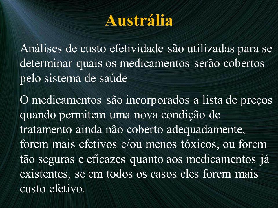 Austrália Análises de custo efetividade são utilizadas para se determinar quais os medicamentos serão cobertos pelo sistema de saúde O medicamentos sã