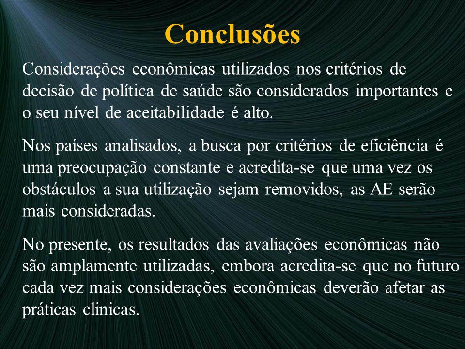 Conclusões Considerações econômicas utilizados nos critérios de decisão de política de saúde são considerados importantes e o seu nível de aceitabilid