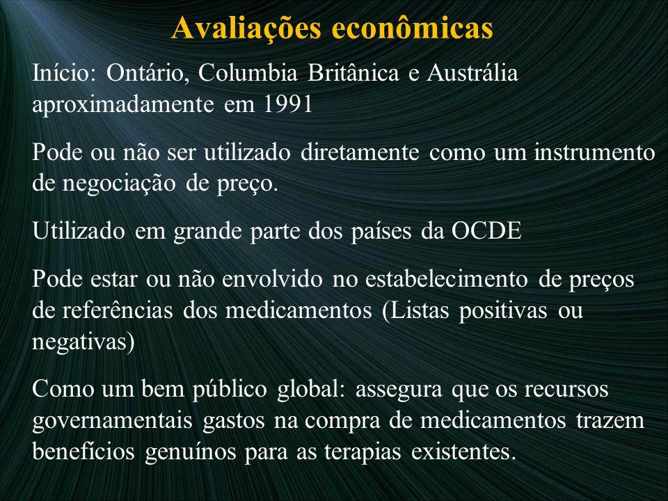 Avaliações econômicas Início: Ontário, Columbia Britânica e Austrália aproximadamente em 1991 Pode ou não ser utilizado diretamente como um instrument