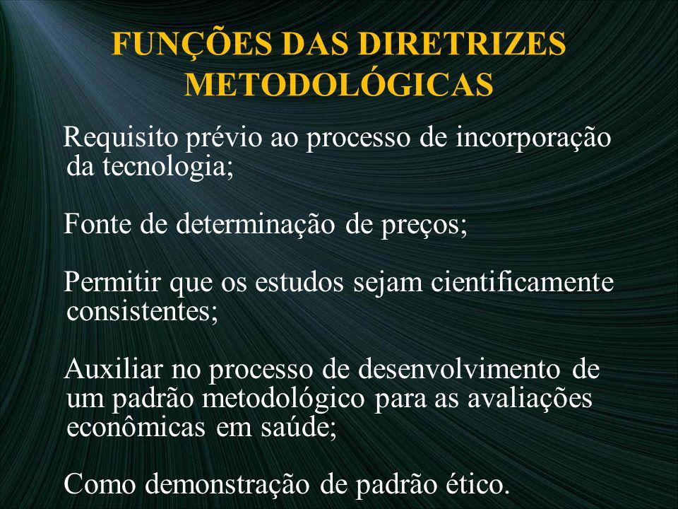 FUNÇÕES DAS DIRETRIZES METODOLÓGICAS Requisito prévio ao processo de incorporação da tecnologia; Fonte de determinação de preços; Permitir que os estu