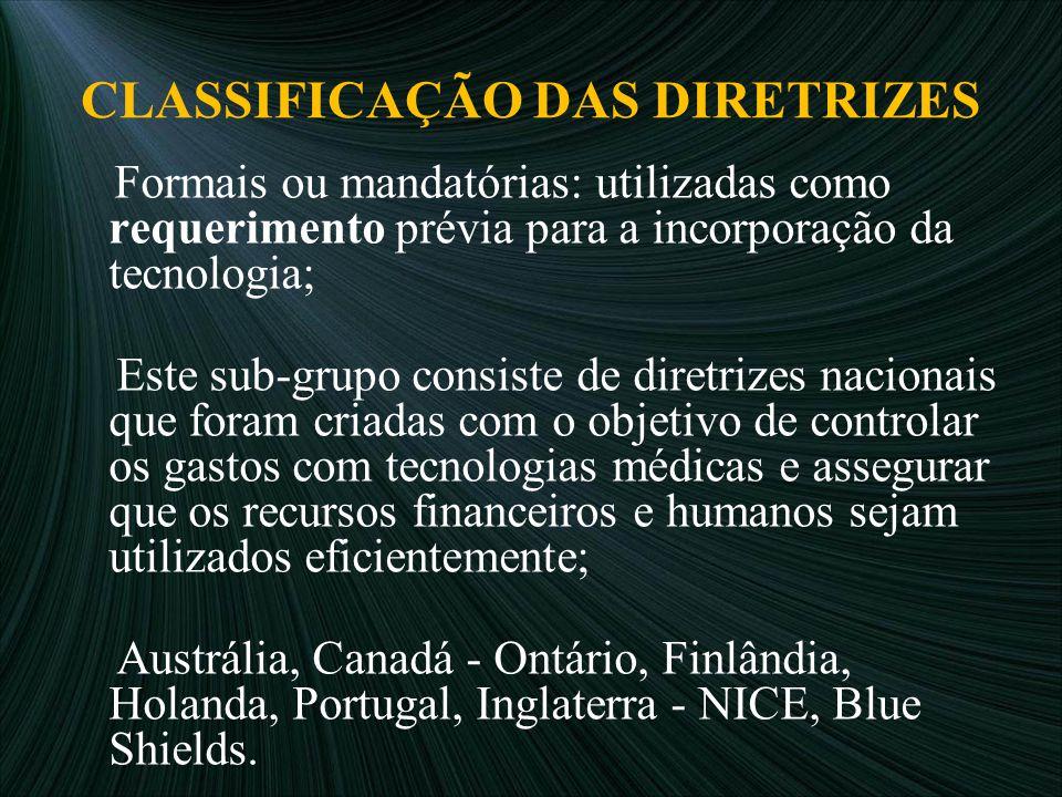CLASSIFICAÇÃO DAS DIRETRIZES Formais ou mandatórias: utilizadas como requerimento prévia para a incorporação da tecnologia; Este sub-grupo consiste de