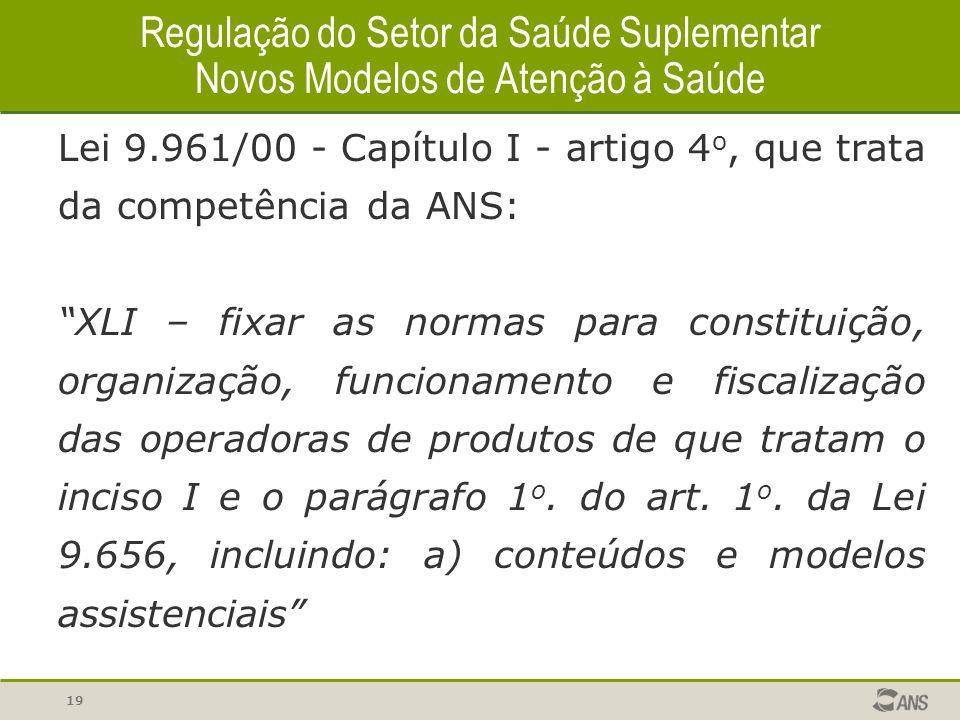 """19 Regulação do Setor da Saúde Suplementar Novos Modelos de Atenção à Saúde Lei 9.961/00 - Capítulo I - artigo 4 o, que trata da competência da ANS: """""""