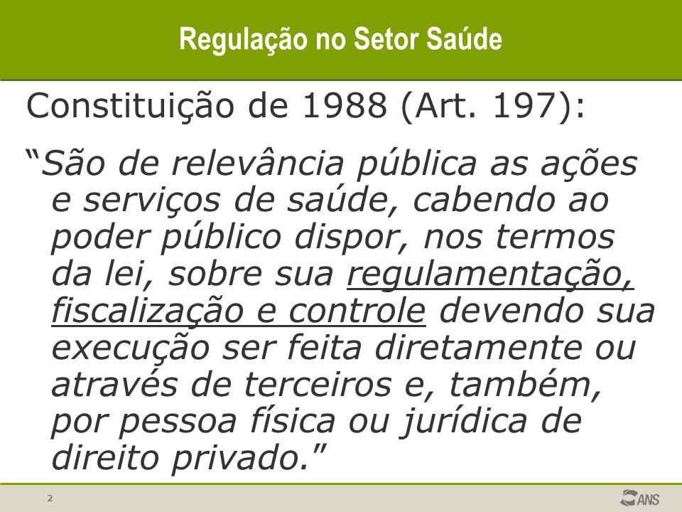 """2 Regulação no Setor Saúde Constituição de 1988 (Art. 197): """"São de relevância pública as ações e serviços de saúde, cabendo ao poder público dispor,"""