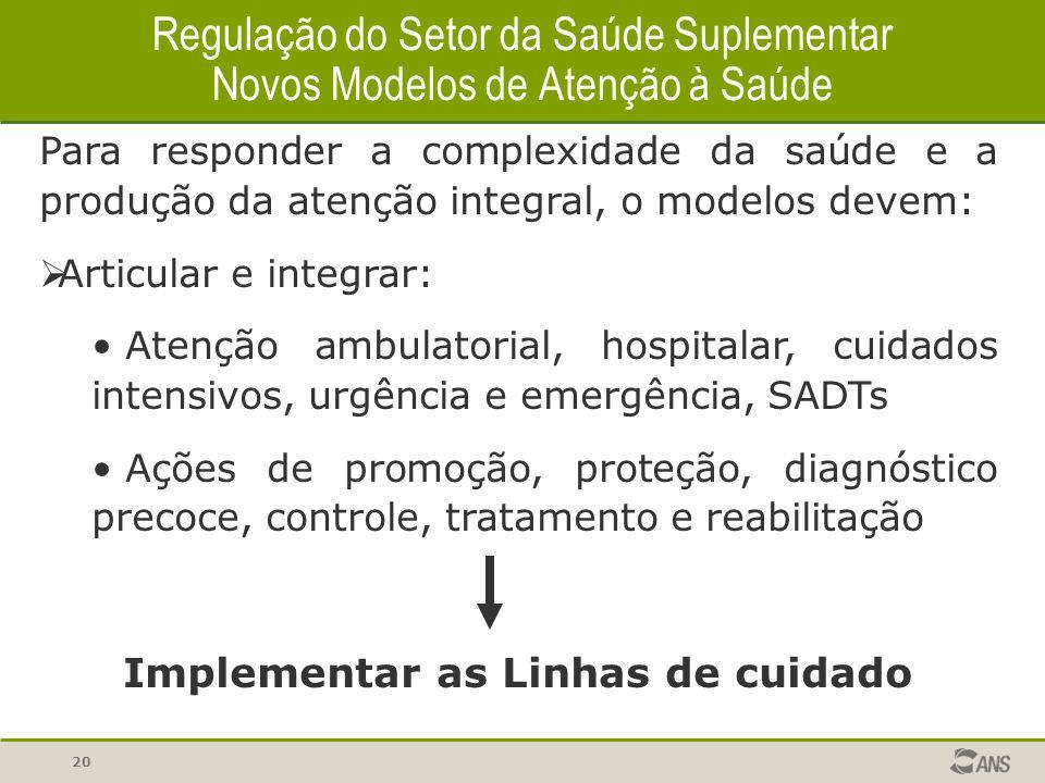 20 Para responder a complexidade da saúde e a produção da atenção integral, o modelos devem:  Articular e integrar: Atenção ambulatorial, hospitalar,