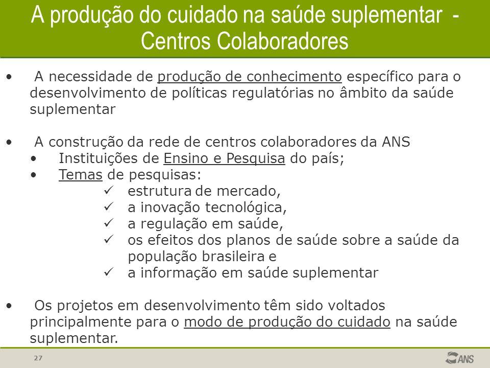 27 A produção do cuidado na saúde suplementar - Centros Colaboradores A necessidade de produção de conhecimento específico para o desenvolvimento de p