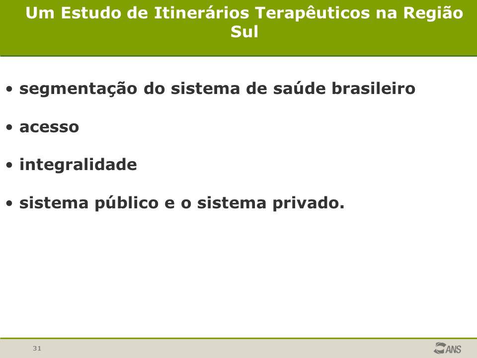 31 Um Estudo de Itinerários Terapêuticos na Região Sul segmentação do sistema de saúde brasileiro acesso integralidade sistema público e o sistema pri