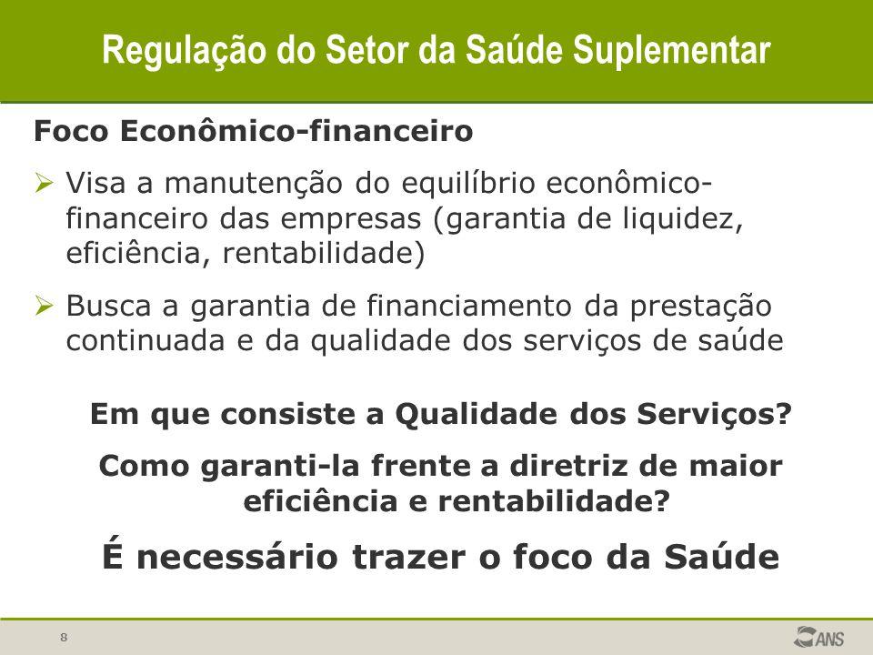 8 Regulação do Setor da Saúde Suplementar Foco Econômico-financeiro  Visa a manutenção do equilíbrio econômico- financeiro das empresas (garantia de