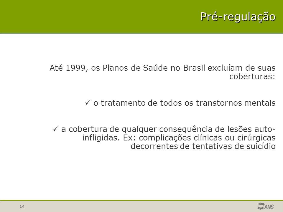 14 Até 1999, os Planos de Saúde no Brasil excluíam de suas coberturas: o tratamento de todos os transtornos mentais a cobertura de qualquer consequênc