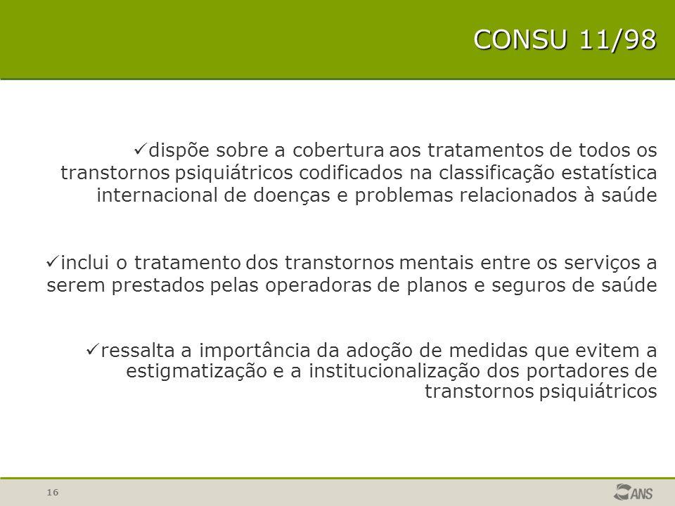 16 CONSU 11/98 dispõe sobre a cobertura aos tratamentos de todos os transtornos psiquiátricos codificados na classificação estatística internacional d