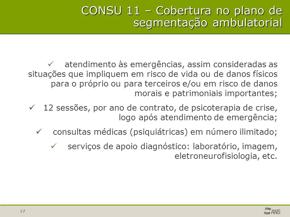 17 CONSU 11 – Cobertura no plano de segmentação ambulatorial atendimento às emergências, assim consideradas as situações que impliquem em risco de vid