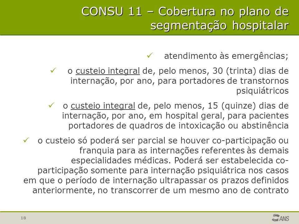 18 CONSU 11 – Cobertura no plano de segmentação hospitalar atendimento às emergências; o custeio integral de, pelo menos, 30 (trinta) dias de internaç