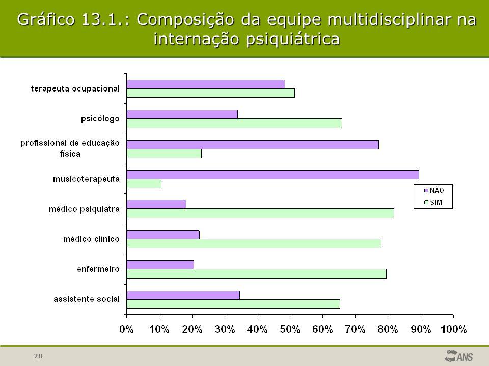 28 Gráfico 13.1.: Composição da equipe multidisciplinar na internação psiquiátrica