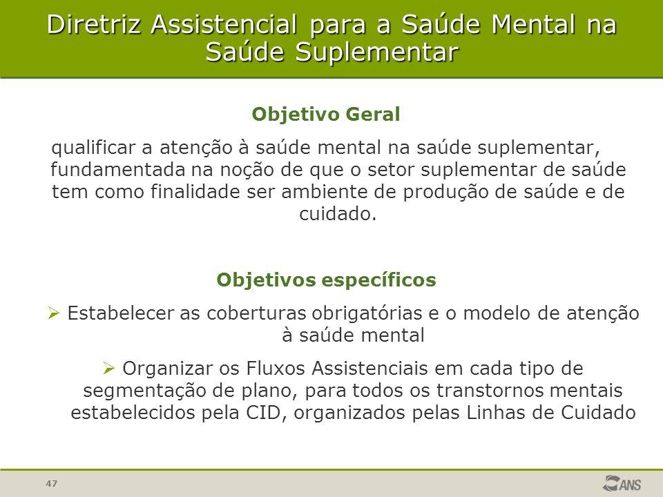 47 Diretriz Assistencial para a Saúde Mental na Saúde Suplementar Objetivo Geral qualificar a atenção à saúde mental na saúde suplementar, fundamentad