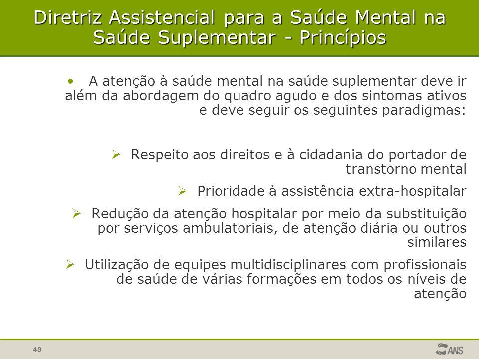 48 A atenção à saúde mental na saúde suplementar deve ir além da abordagem do quadro agudo e dos sintomas ativos e deve seguir os seguintes paradigmas