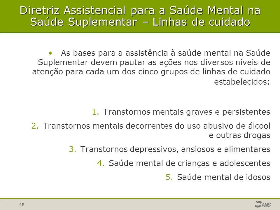 49 As bases para a assistência à saúde mental na Saúde Suplementar devem pautar as ações nos diversos níveis de atenção para cada um dos cinco grupos