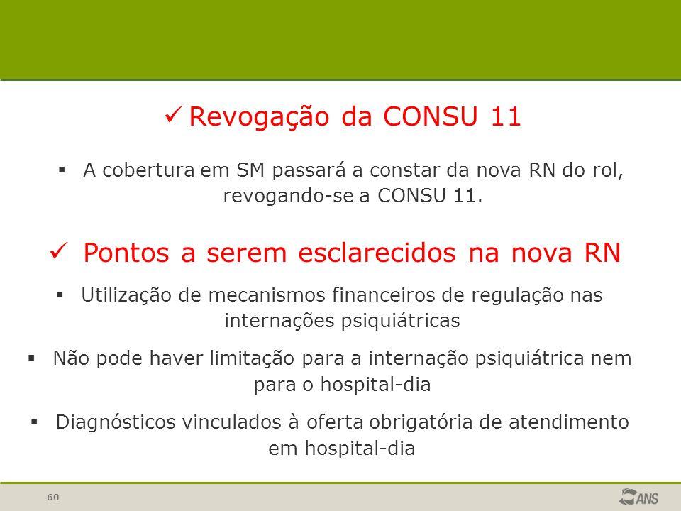 60  A cobertura em SM passará a constar da nova RN do rol, revogando-se a CONSU 11. Revogação da CONSU 11  Utilização de mecanismos financeiros de r