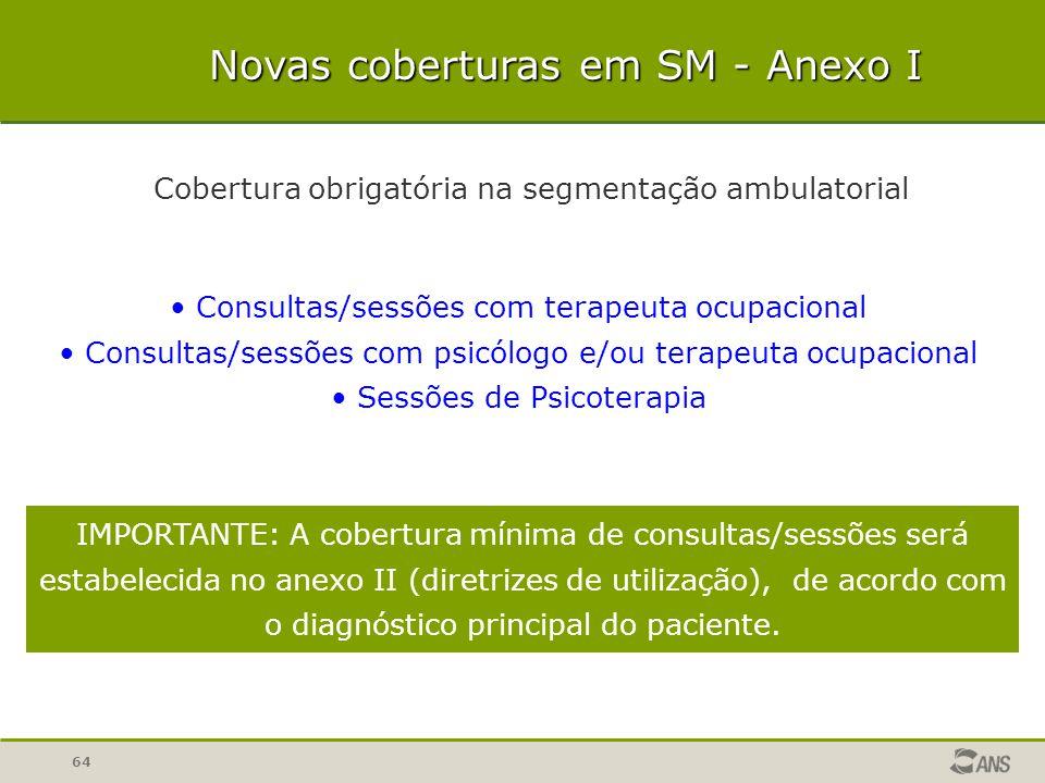 64 Novas coberturas em SM - Anexo I Cobertura obrigatória na segmentação ambulatorial Consultas/sessões com terapeuta ocupacional Consultas/sessões co