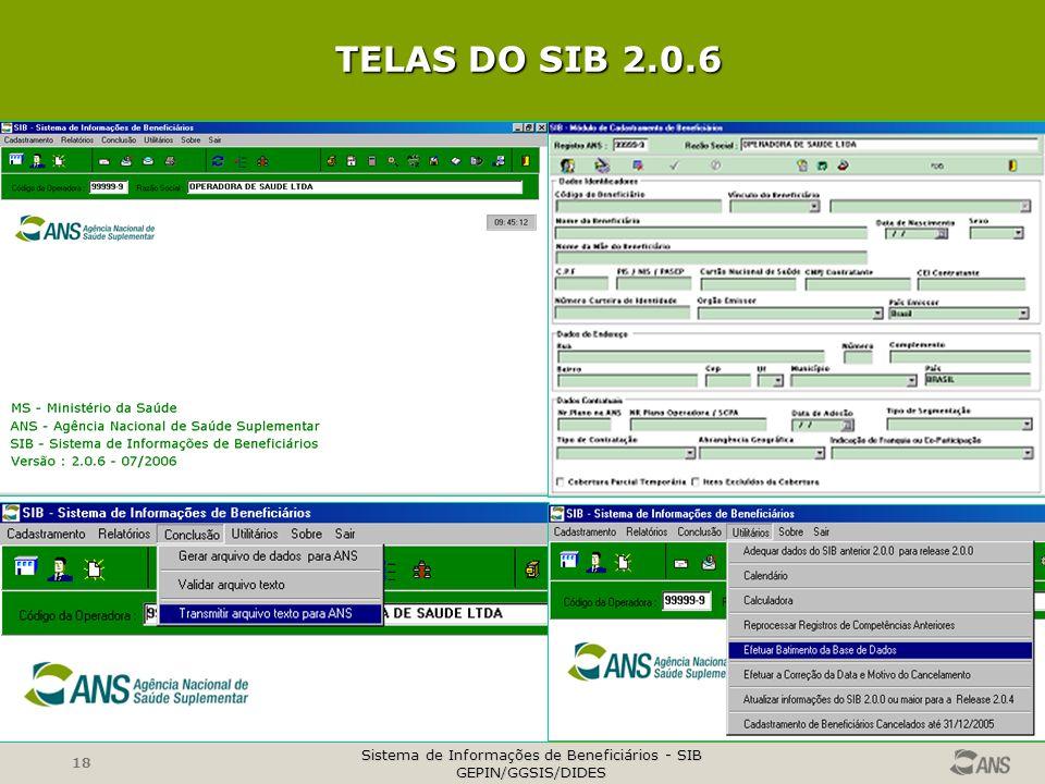 Sistema de Informações de Beneficiários - SIB GEPIN/GGSIS/DIDES 18 TELAS DO SIB 2.0.6 TELAS DO SIB 2.0.6