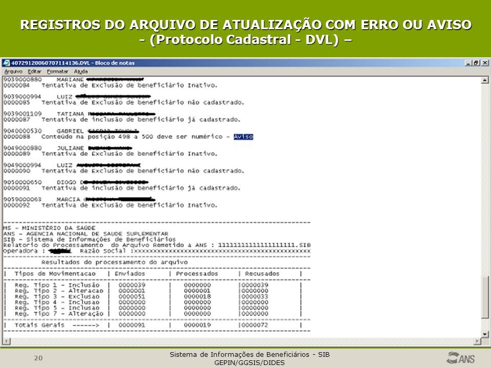 Sistema de Informações de Beneficiários - SIB GEPIN/GGSIS/DIDES 20 REGISTROS DO ARQUIVO DE ATUALIZAÇÃO COM ERRO OU AVISO - (Protocolo Cadastral - DVL)