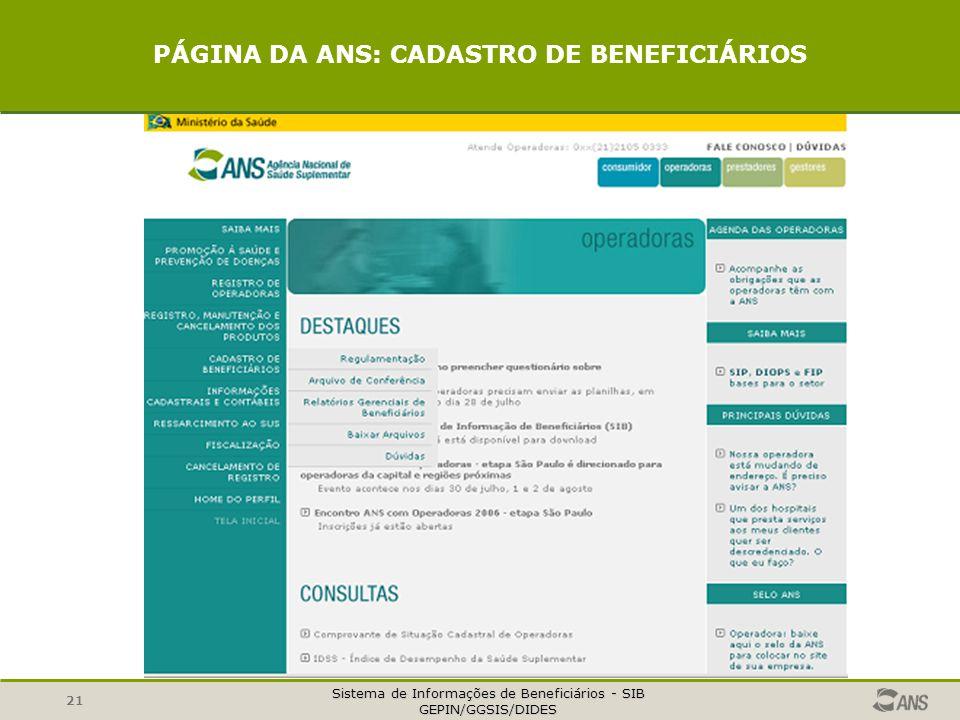 Sistema de Informações de Beneficiários - SIB GEPIN/GGSIS/DIDES 21 PÁGINA DA ANS: CADASTRO DE BENEFICIÁRIOS