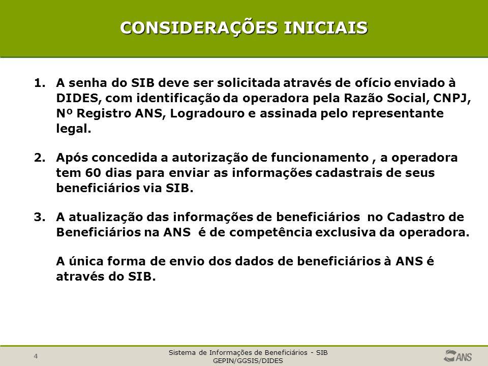 Sistema de Informações de Beneficiários - SIB GEPIN/GGSIS/DIDES 4 CONSIDERAÇÕES INICIAIS 1.A senha do SIB deve ser solicitada através de ofício enviad