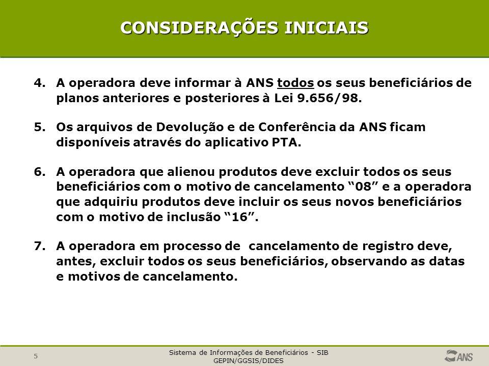 Sistema de Informações de Beneficiários - SIB GEPIN/GGSIS/DIDES 5 CONSIDERAÇÕES INICIAIS 4.A operadora deve informar à ANS todos os seus beneficiários