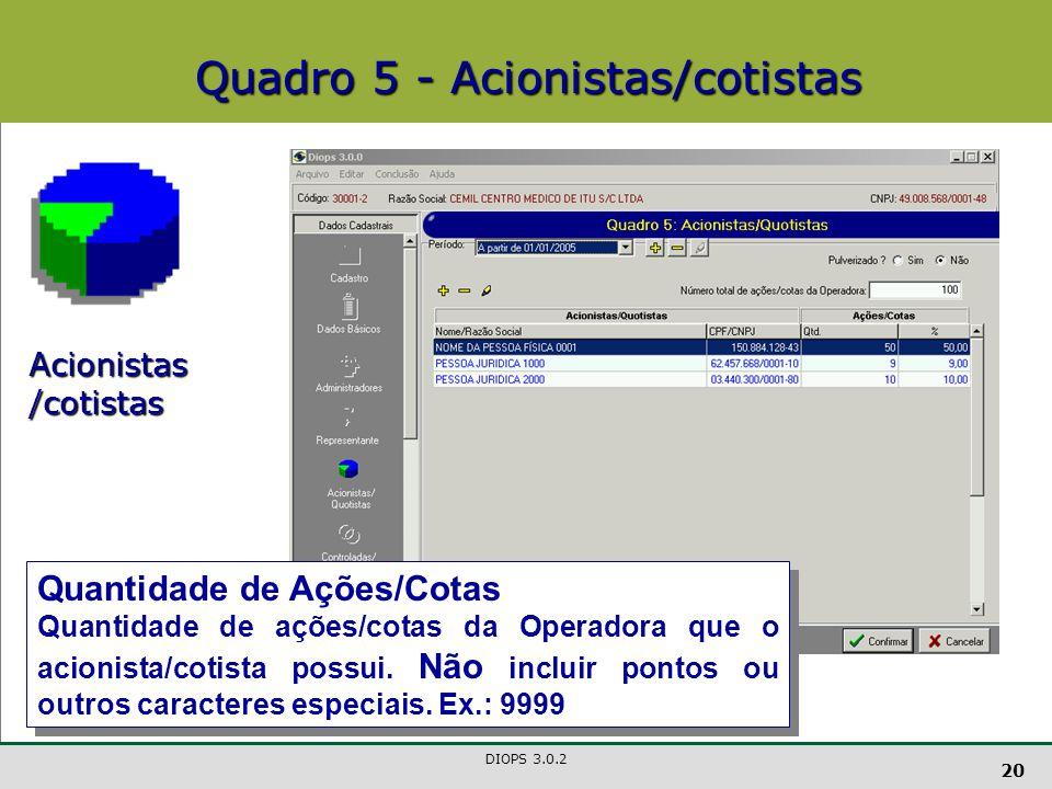 DIOPS 3.0.2 20 Quadro 5 - Acionistas/cotistas Acionistas /cotistas Quantidade de Ações/Cotas Quantidade de ações/cotas da Operadora que o acionista/cotista possui.