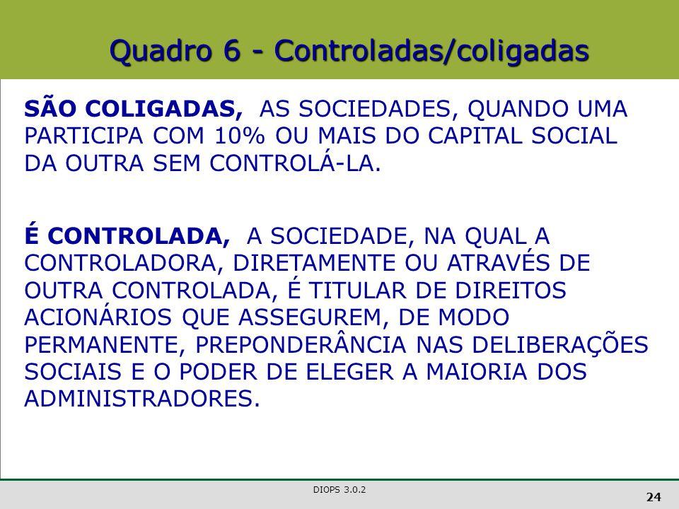 DIOPS 3.0.2 24 SÃO COLIGADAS, AS SOCIEDADES, QUANDO UMA PARTICIPA COM 10% OU MAIS DO CAPITAL SOCIAL DA OUTRA SEM CONTROLÁ-LA.