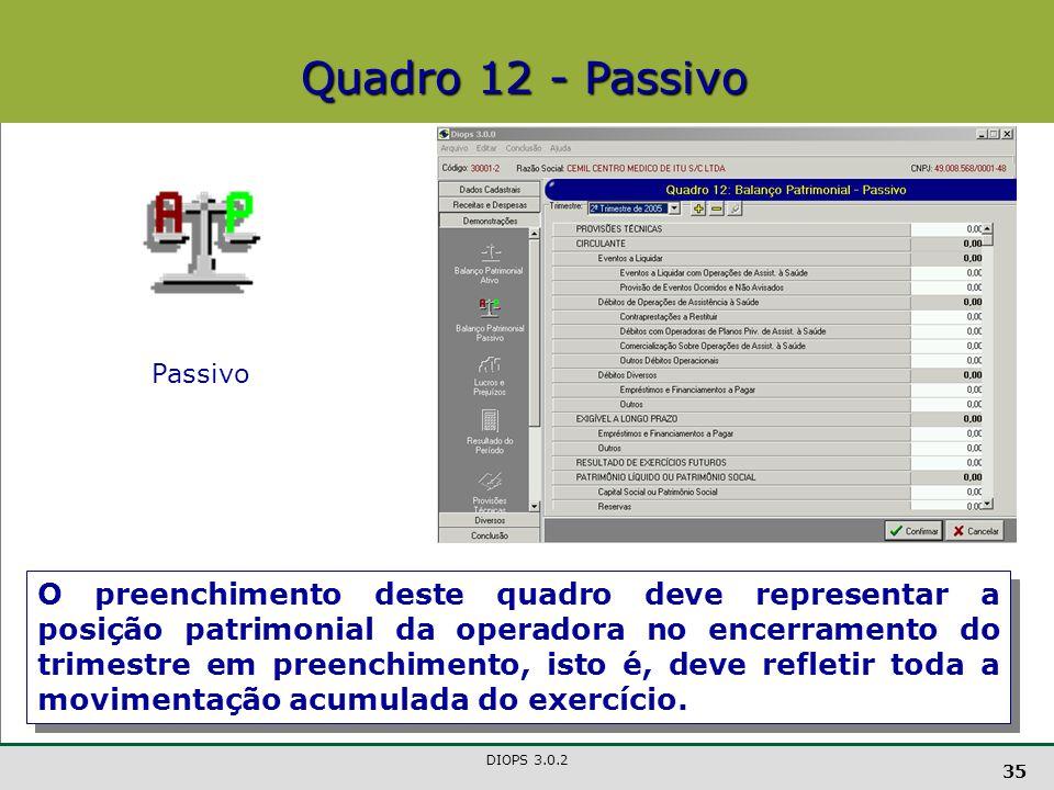 DIOPS 3.0.2 35 Quadro 12 - Passivo Passivo O preenchimento deste quadro deve representar a posição patrimonial da operadora no encerramento do trimestre em preenchimento, isto é, deve refletir toda a movimentação acumulada do exercício.