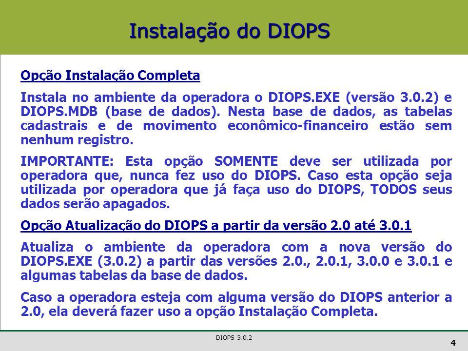 DIOPS 3.0.2 5 Para as operadoras que vierem a instalar a versão de atualização, é fortemente recomendada a realização de um back up da versão anterior do DIOPS.