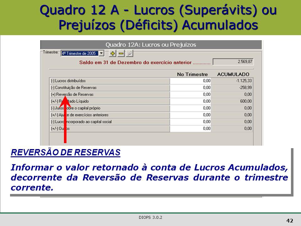 DIOPS 3.0.2 42 Quadro 12 A - Lucros (Superávits) ou Prejuízos (Déficits) Acumulados REVERSÃO DE RESERVAS Informar o valor retornado à conta de Lucros Acumulados, decorrente da Reversão de Reservas durante o trimestre corrente.