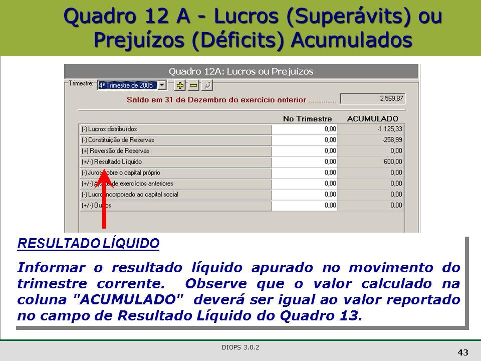 DIOPS 3.0.2 43 Quadro 12 A - Lucros (Superávits) ou Prejuízos (Déficits) Acumulados RESULTADO LÍQUIDO Informar o resultado líquido apurado no movimento do trimestre corrente.