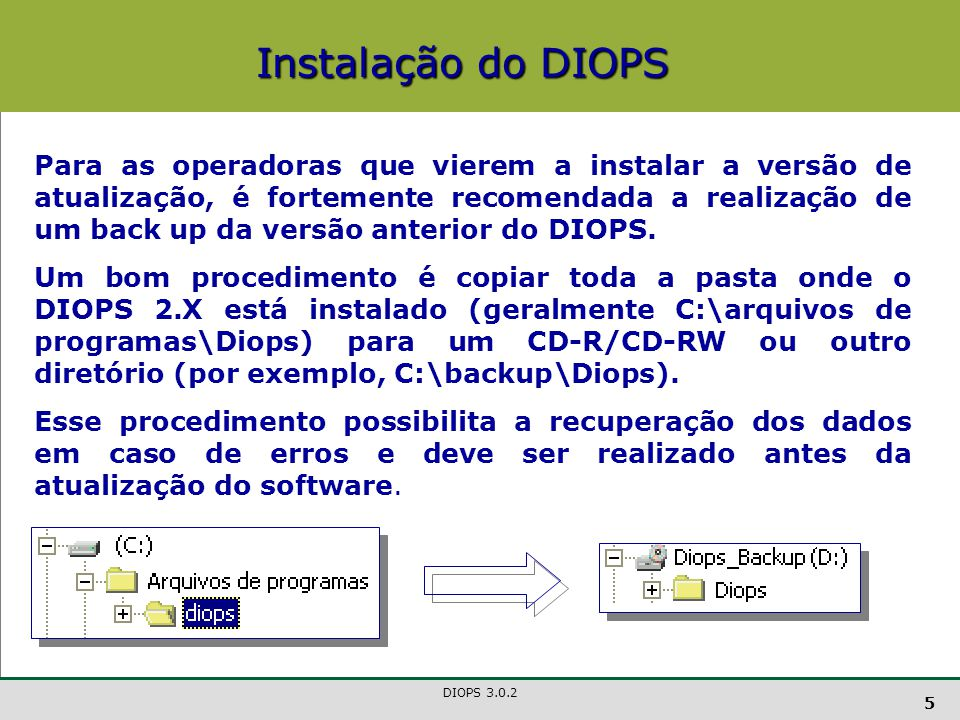 DIOPS 3.0.2 6 Na versão atual, o sistema efetuará uma validação prévia, quadro a quadro, de modo que, sendo constatado um erro de preenchimento, o usuário não conseguirá avançar para o próximo quadro.