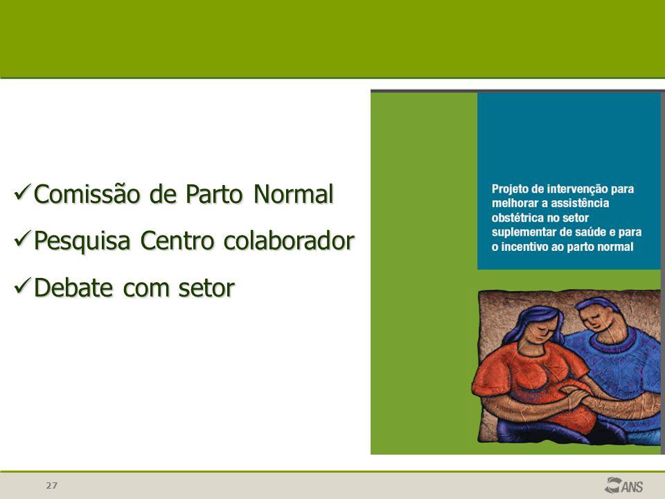 27 Comissão de Parto Normal Comissão de Parto Normal Pesquisa Centro colaborador Pesquisa Centro colaborador Debate com setor Debate com setor