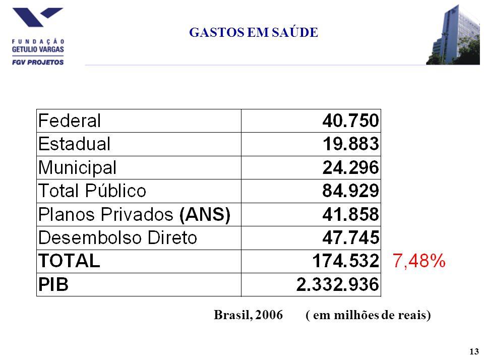 13 GASTOS EM SAÚDE ( em milhões de reais)Brasil, 2006