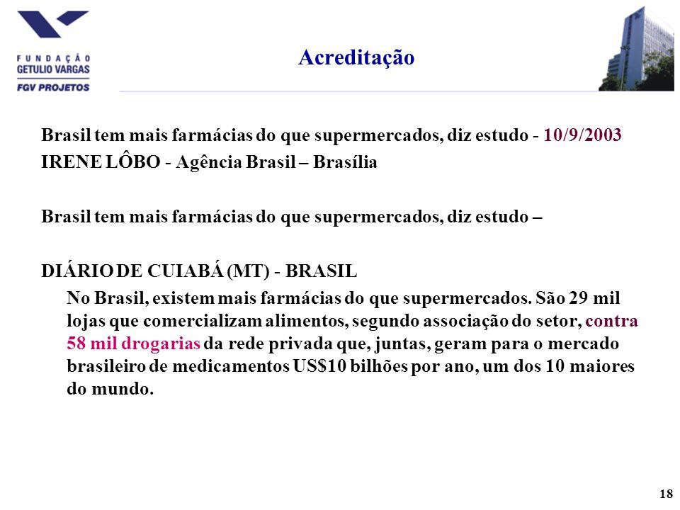 18 Brasil tem mais farmácias do que supermercados, diz estudo - 10/9/2003 IRENE LÔBO - Agência Brasil – Brasília Brasil tem mais farmácias do que supermercados, diz estudo – DIÁRIO DE CUIABÁ (MT) - BRASIL No Brasil, existem mais farmácias do que supermercados.