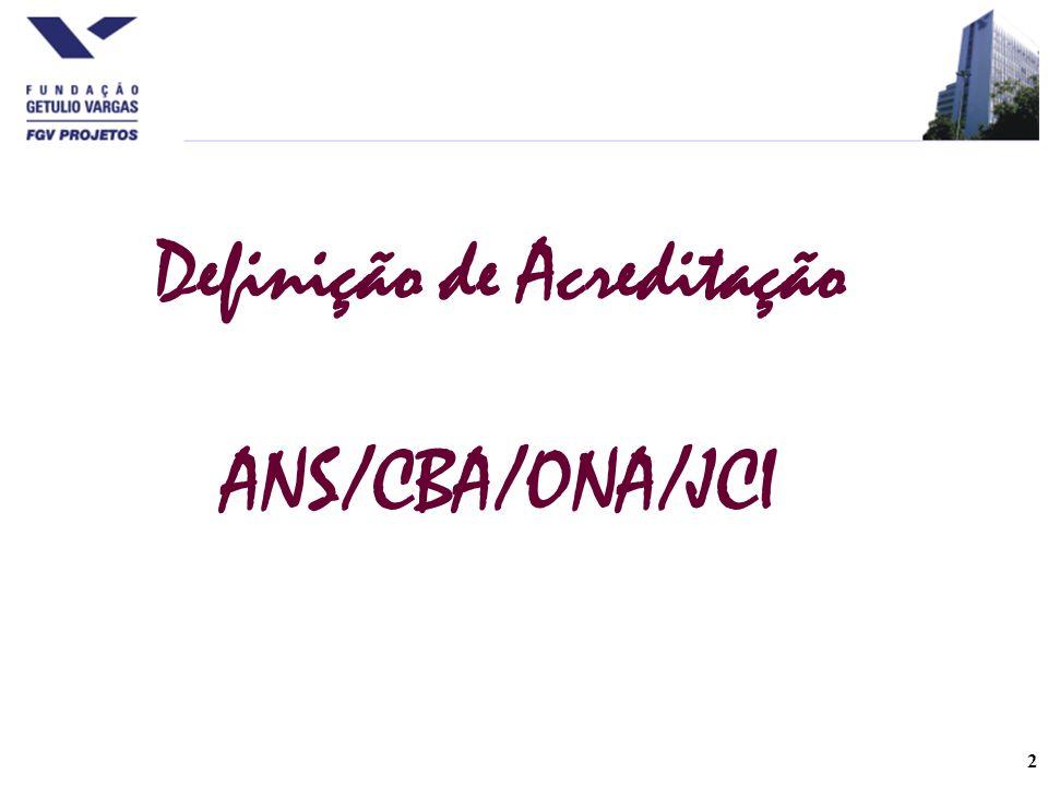 2 Definição de Acreditação ANS/CBA/ONA/JCI