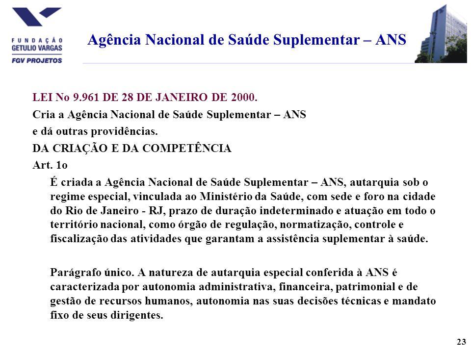 23 LEI No 9.961 DE 28 DE JANEIRO DE 2000.