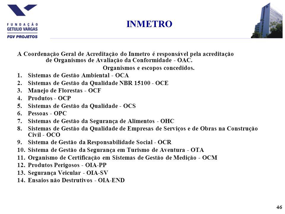 46 A Coordenação Geral de Acreditação do Inmetro é responsável pela acreditação de Organismos de Avaliação da Conformidade - OAC.