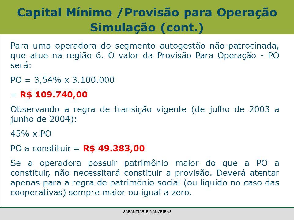 GARANTIAS FINANCEIRAS Para uma operadora do segmento autogestão não-patrocinada, que atue na região 6.