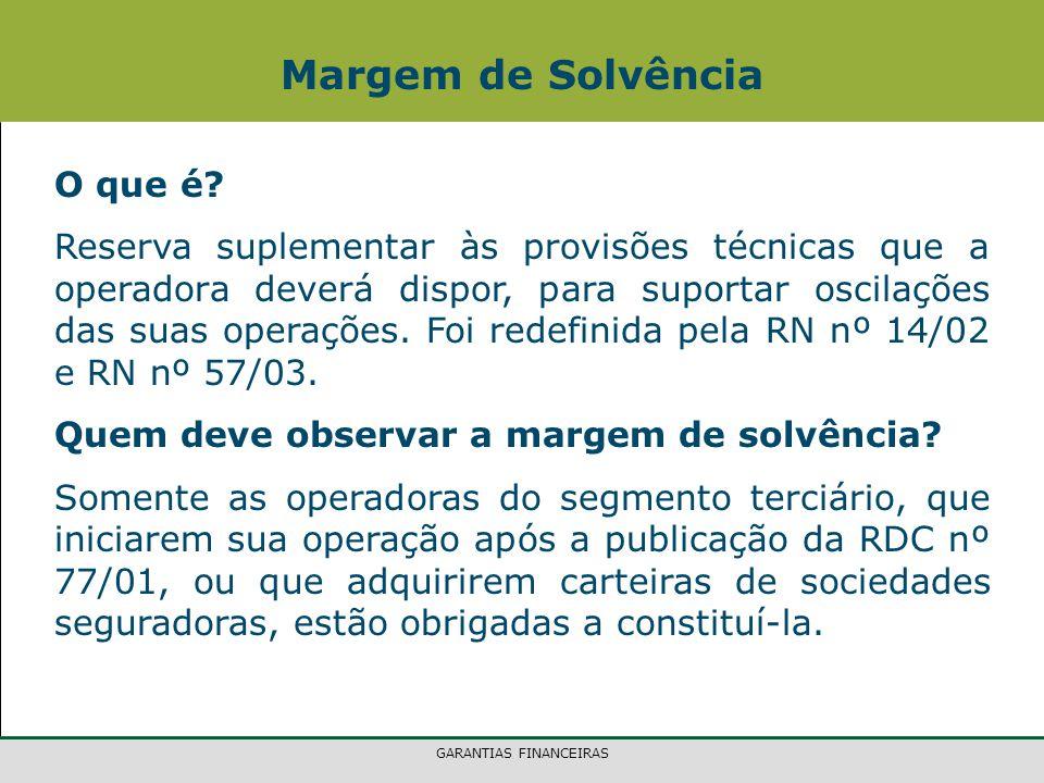 GARANTIAS FINANCEIRAS Margem de Solvência O que é.