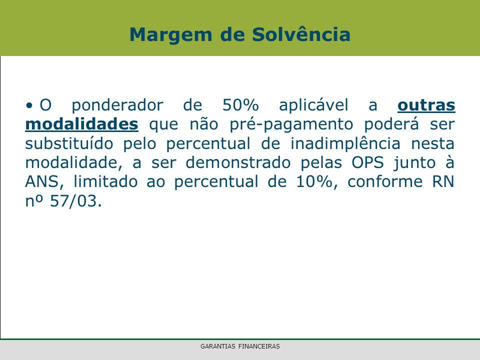 GARANTIAS FINANCEIRAS Margem de Solvência O ponderador de 50% aplicável a outras modalidades que não pré-pagamento poderá ser substituído pelo percentual de inadimplência nesta modalidade, a ser demonstrado pelas OPS junto à ANS, limitado ao percentual de 10%, conforme RN nº 57/03.