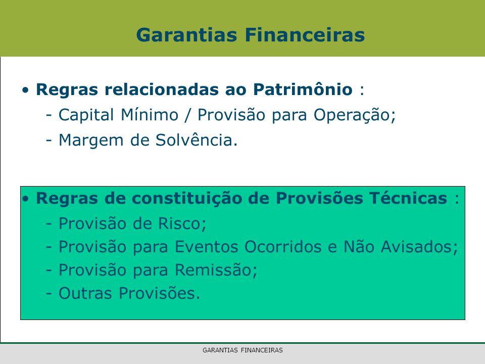 GARANTIAS FINANCEIRAS Regras relacionadas ao Patrimônio : - Capital Mínimo / Provisão para Operação; - Margem de Solvência. Regras de constituição de