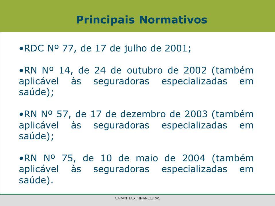 GARANTIAS FINANCEIRAS Principais Normativos RDC Nº 77, de 17 de julho de 2001; RN Nº 14, de 24 de outubro de 2002 (também aplicável às seguradoras esp